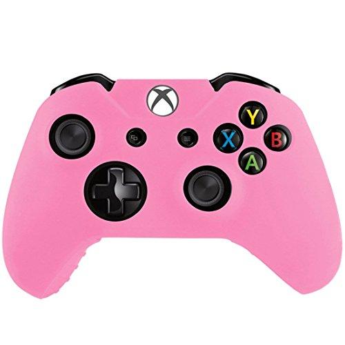 wortek Xbox One Controller Hülle Silikon Skin Schutzhülle Anti-Rutsch Bumper ergonomisches Gummi Sleeve Perfekter Grip für Gamepad Schutz für Xbox One/Xbox One X/Xbox One S Pad Pink