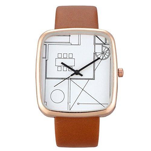 Deloito Damen Uhr Mode Lederband Schnalle Uhren Einfaches Analog Quarz Runde Armbanduhr (A)