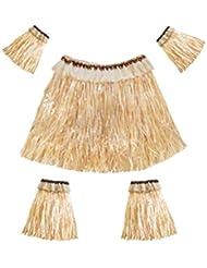 f7badf810 Amosfun Conjunto de Falda de Hierba Hawaiana Bandas para Brazos y piernas  Traje elástico Accesorio para