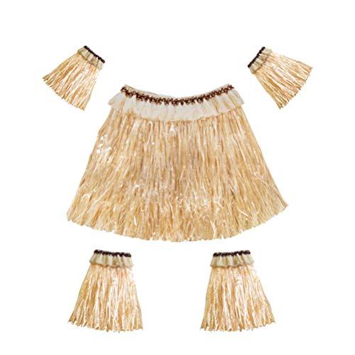 Amosfun Hawaiian Grass Rock Set Arm und Bein Bands elastische Kostüm Party Zubehör Performance Kostüm 5 Stücke (Stroh Farbe)