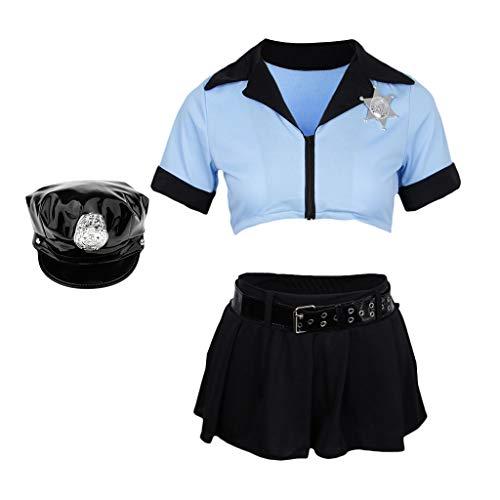 F Fityle Damen Kostüm Polizistin Blau Polizei Kostüm Officer Cosplay Uniform Lingeries Crop Oberteile mit Minikleid