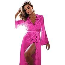 Ba Zha Hei Frauen Dessous Babydoll Nachtwäsche Unterwäsche Spitzenmantel Große Größe Pyjamas Bademantel Wimpern Spitze Nachthemd Nachtwäsche + G-String Nachthemd Nachtkleid