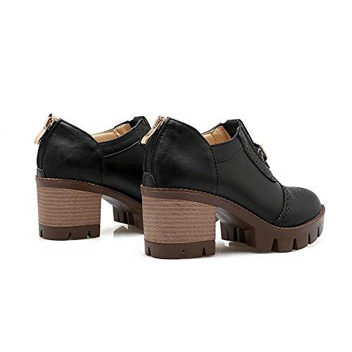 VogueZone009 Femme Matière Souple Zip Rond à Talon Correct Couleur Unie Chaussures Légeres Noir