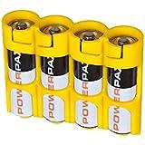 PowerPax 4 AA Battery Caddy - Caution Yellow