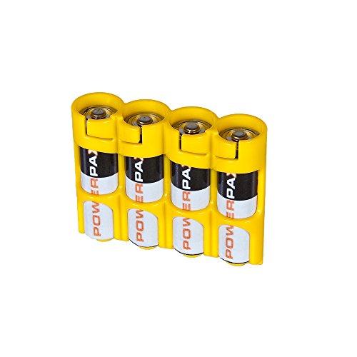 PowerPax Batterie-Caddy für 4 AA-Batterien, Gelb