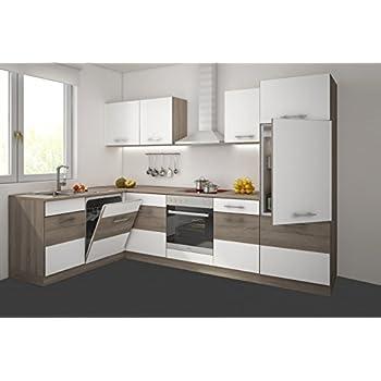 Küche köln 172x280 cm küchenzeile in sonoma eiche trüffel weiss matt küchenblock variabel stellbar
