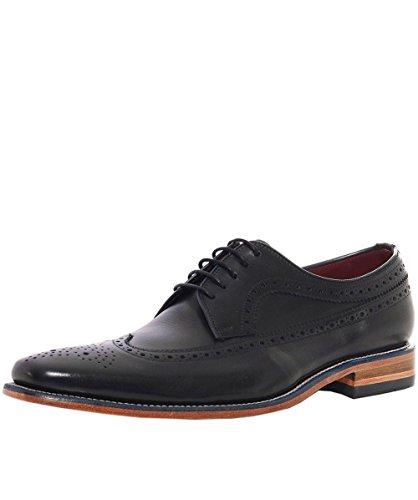Loake Uomo callaghan derby scarpe in pelle di vitello Nero (Black Calf/Grain)