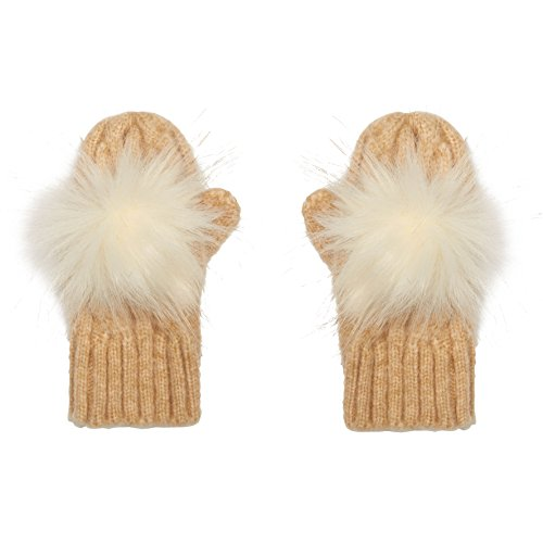 Aran Traditions Kids Oatmeal Beige Cable Knit Faux Fur Pom Pom Gloves Mitts 3-6 Years - Cable Knit Mitt