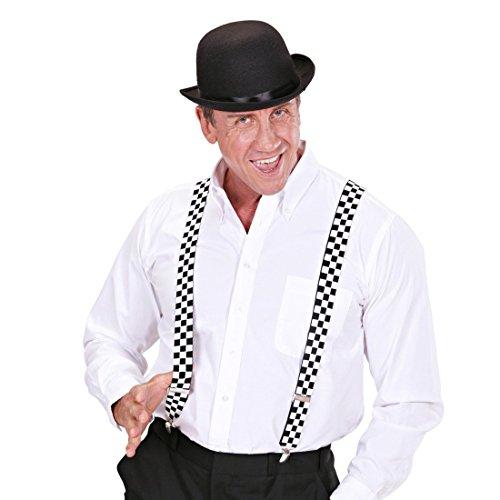 NET TOYS Karierte Hosenträger Schachbrett Bundhalter Y-Form Hosen Träger Rockabilly Hipster Punk Ska Hosenhalter 50er Jahre Kostüm Accessoire - Schachbrett Kostüm