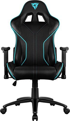 Thunder X3 RC3HEXC – Silla pro gaming (7colores RGB ,Cuero sintético premium con patrón de carbono, Respaldo y apoyabrazos ajustables 2D) Color Negro y Cyan