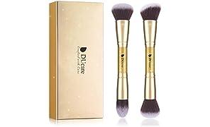 DUcare Brochas de Maquillaje Foundation Brocha Kabuki 2PCS Brochas Para Maquillaje Facial Profesional