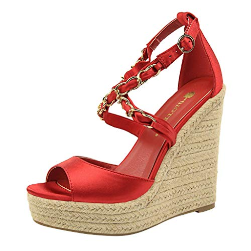 Thong Heel Schuh (SHE.White Damen Wedge Sandal Basic Plateau Sandalen Kette Kreuz Gebunden Keilabsatz Schuhe Sommer Elegant High Heels Offener Zeh Wedge Schuhe Sommerschuhe)