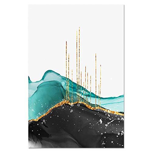 WSWWYNordic Abstrakte Tusche Linien Poster Nordic Wandkunst Leinwand Goldene Berggipfel Drucken Moderne Malerei Home Raumdekoration A4 50x70 cm Kein Rahmen