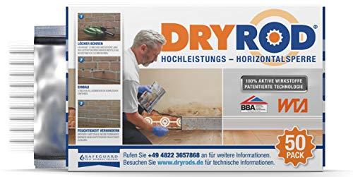 Dryrod Hochleistungs - Horizontalsperre - Stäbchen zur Abdichtung des Mauerwerks - WTA Zertifiziert (50 Stäbchen). Ergiebigkeit - bei 115mm Wandstärke 10m Länge; bei 230mm Wandstärke 6m Länge.