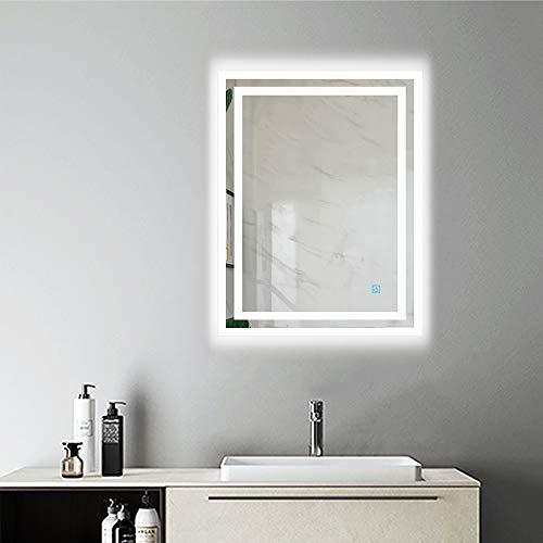 AicaSanitär Wandspiegel mit Beleuchtung 50×70 cm Touch, Anti-BESCHLAG, Kaltweiß, CE Norm, LED Bad Spiegel Badmöbel Sonnelicht Serie