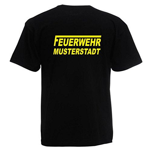 T-Shirt FEUERWEHR beidseitig bedruckt mit Wunschort Schwarz Gelb