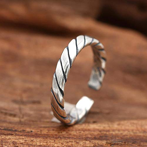 DTZH Ringe Schmuck S925 Sterling Silber Retro-Thai Silber minimalistisch Stricken Ring Freundin Geburtstagsgeschenk Europa und die Vereinigten Staaten Wind Zubehör, geschickt, um die lieben Leute - Staat Stricken