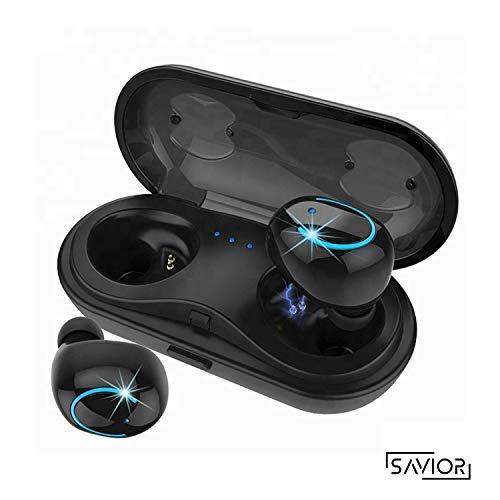 Cuffie bluetooth 5.0, tocco auricolari wireless 24h playtime con scatola di ricarica, 3d stereo con hd mic auricolari senza fili cuffie in-ear per bassi profondi per apple airpods android/iphone