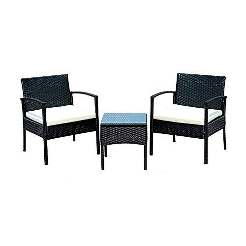 EBS® Polyrattan Gartenmöbel set Gartengarnitur Sitzgruppe Lounge Garnitur 1 Tisch 2 Stühle Weiß Sitzkissen Runder Tisch Glas Abdeckung