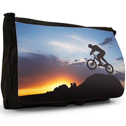 Fancy A Bag Borsa Messenger nero Amazing Cyclist Illustration Modern Art Silhouette of BMX Bike Rider Jumping Off Rock