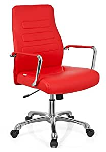 hjh OFFICE, 720008, Luxury Executive Chair, swivel office chair, TEWA, red, faux leather, high ergonomic backrest, design computer desk chair chrome amrests, knee tilt mechanism, thick padded, designer base in polished aluminium, stylish