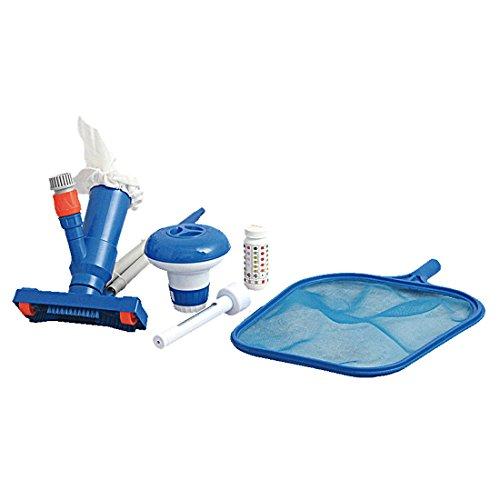 Jilong Pool-Reinigung Set C mit Poolstange Schwimmbad Kescher Bodensauger Chemikalien-Dosierer Thermometer 50 Teststreifen zur Poolpflege & Pflege der Wasserqualität
