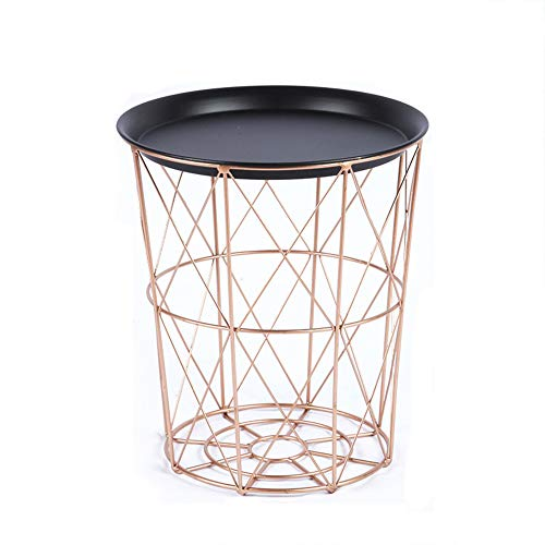 XIMULIZI Golden Iron Metal Couchtisch Dirty Storage Basket Tee Obst Snack Service Platte Tablett Bett Wohnzimmer Rose-Black Abdeckung,L Rose Snack