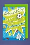 Einschulung Grußkarte Applikation Accesoires Stern ABC Fußball Radiergummi 16x11cm