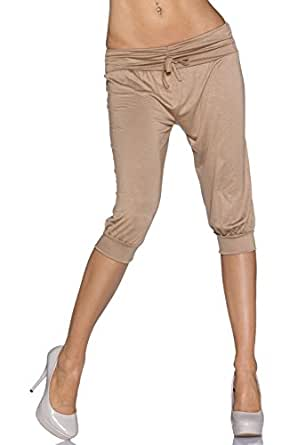 4485 Fashion4Young Damen Caprihose Capri Hose Sommer Hose Pants verfügbar in 11 Farben 34/36 (34/36, Beige)