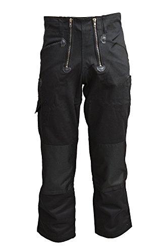 TMG® Herren Zunfthose Schwarz | viele Größen | Männer Dachdeckerhose mit Knieverstärkung aus Cordura | Ohne Schlag | Dachdecker, Zimmerer und Tischler | 400gr 58