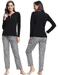 Abollria Pijamas Mujer Algodon Ropa de Domir Elegante Manga Pantalon Largos 95925e909d9