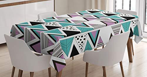 ABAKUHAUS Geometrisch Tischdecke, 80er Memphis Zick-Zack-Icons, Für den Inn und Outdoor Bereich geeignet Waschbar Druck Klar Kein Verblassen, 140 x 170 cm, Lavendel-Kadett-Blau Schwarz-Weiß