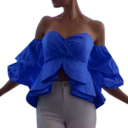 WOCACHI Damen Sommer Tops Reizvolles Frauen weg vom Schulter Hauch Hülsen Tops Kurz T-Shirt Bluse Blau
