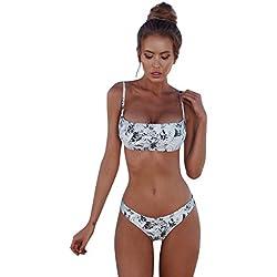 iCerber Maillot De Bain Femmes Sexy Bikini Ensemble Push Up Bandage Impression De Fleurs Soutien-Gorge à Volants Simple 2 PièCes Grande Taille Tankini Bandeau Trikini Deux PièCes Brassiere Natation