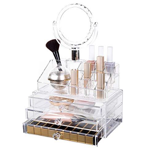 Acrylique Maquillage Organisateur Boîte de Rangement Tiroir Organisateur Cosmétique pour Palette Brosse Fondations Rouge À Lèvres Vernis À Ongles Épingles À Cheveux Avec Miroir