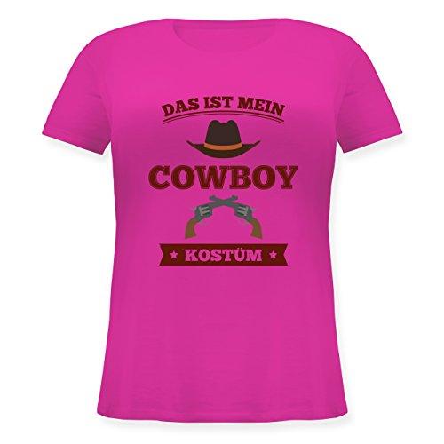 Karneval & Fasching - Das ist Mein Cowboy Kostüm - XL (50/52) - Fuchsia - JHK601 - Lockeres Damen-Shirt in großen Größen mit Rundhalsausschnitt (Shirt Cowboy Kostüm)