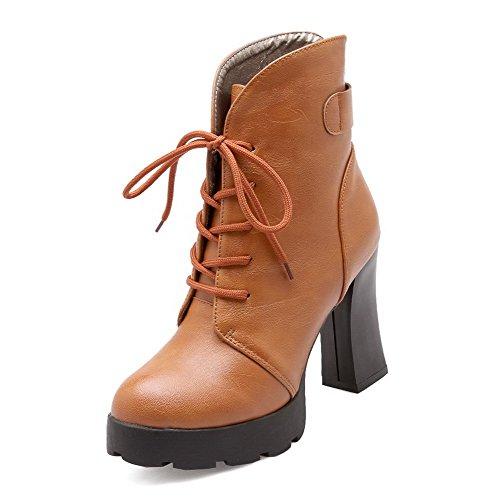 AllhqFashion Damen Wasserdicht Plattform Mittler Absatz PU Leder Schnüren Stiefel, Aprikosen Farbe, 38