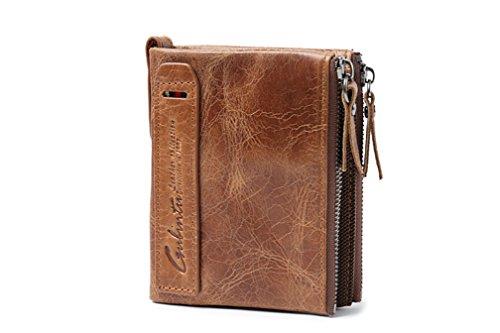 Retro Herrenportemonnaies Echtes Leder Art und Weisegeldbeutel Geldbörse Rindleder doppelte Reißverschluss-Mappe Braun (Braun)