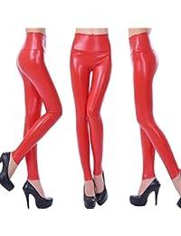 YXYP Leggings Cuero Pantalón Elásticos Skinny Leggings Pu Leggings Pantalones Sexy ...