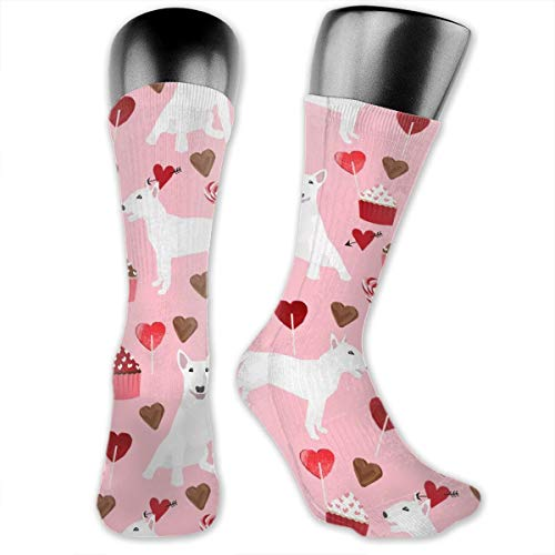 MZZhuBao Bull Terrier White Coat Cupcakes Love Hearts Valentines Day Dog Unisex Athletic Full Crew Socks Running Gym Compression Foot (Crazy Cat Lady Kostüm Party)