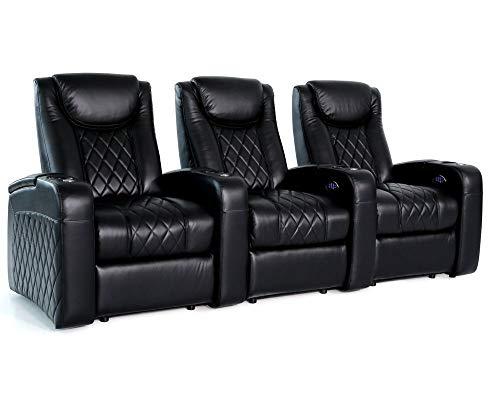 Zinea Kinosessel Emperor - 3 Sitzer - Premiumleder, elektrisch verstellbar, LED Becherhalter, Ambientebeleuchtung, Kinosofa, Kinositz - Sofort Lieferbar