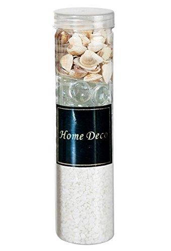 Deko-Set mit Deko Sand Glasnuggets und Muscheln versch. Farben, Farbe:weiß
