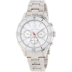 Sector Men's Quartz Watch with White Dial Chronograph Display and Silver Stainless Steel Bracelet R3253161501