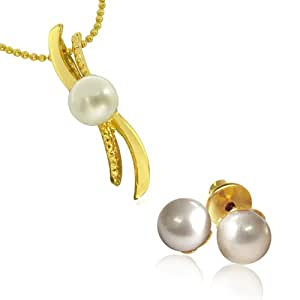Surat Diamonds 'S' Shape Button Pearl Pendant with chain & Pearl Studs for Women (SDS147)