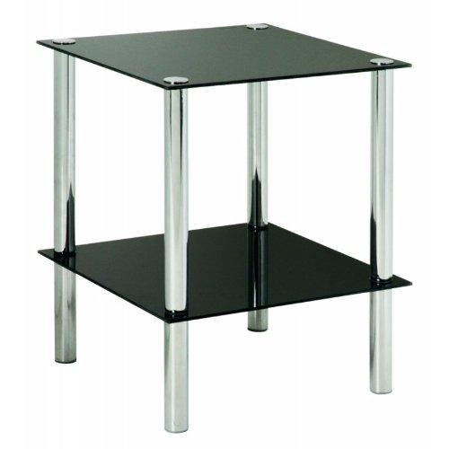 Haku Möbel 90538 Table Basse d'Appoint Tube d'Acier/Verre Trempé Chromé/Noir 39 x 39 x 47 cm