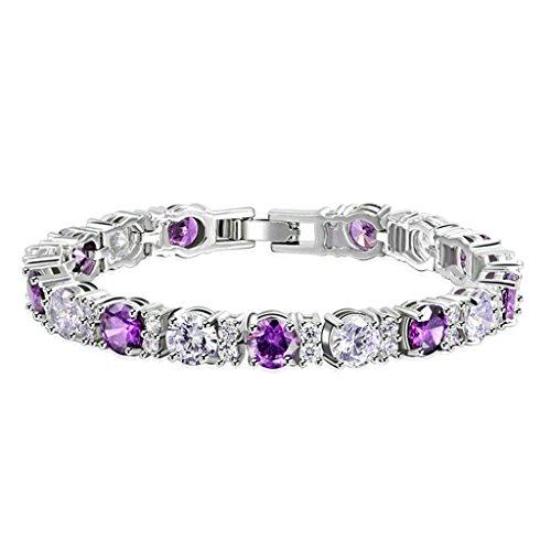 85d40a772247 AieniD Joyas de Moda Pulsera Mujer Joven Violeta Cz 17Cm Brazalete de Oro  para las Mujeres