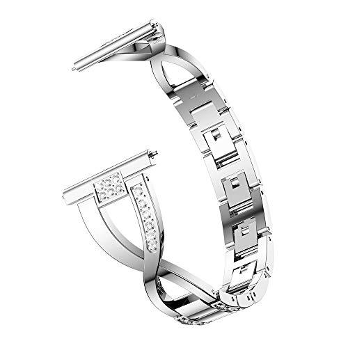Vamoro Ersatz-Metallkristall-Uhrenarmband-Armband für Samsung Galaxy Watch (42mm)(Silber)