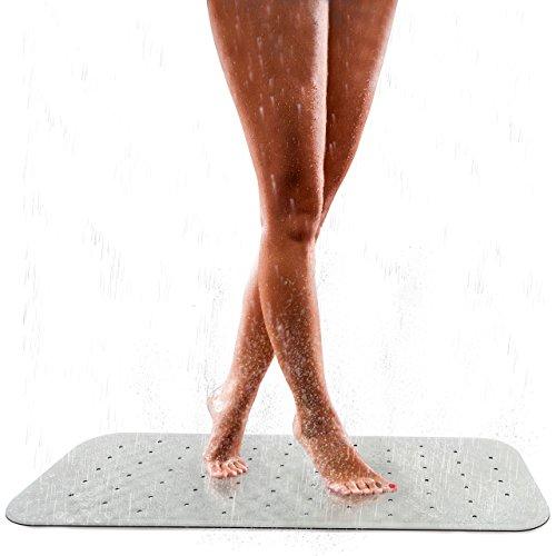 Pumpko® Rutschfeste Badewanneneinlage aus Naturkautschuk | 36 x 97cm | Weiß | Extra-Lange Badewannenmatte | Anti-Rutschmatte für Badewanne