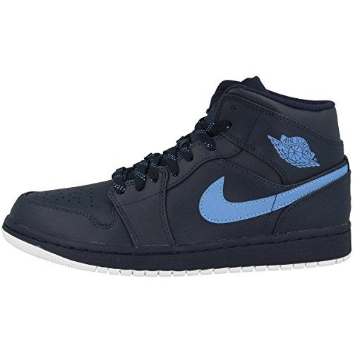 Nike Herren Air Jordan 1 Mid Basketballschuhe, Mehrfarbig (Obsidian/University Blau/Weiss), 44.5 EU (Air Jordan 554724)