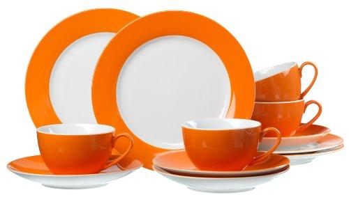 Ritzenhoff & Breker Kaffeeservice Doppio, 12-teilig, Porzellangeschirr, Orange